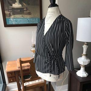 Xhileration Black w/White Stripes Wrap Blouse XS